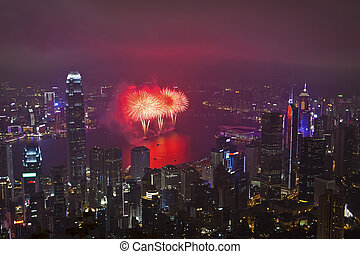 hong, kinesisk, fireworks, kong, år, färsk