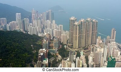 Hong Kong, aerial footage from Victoria peak - Flying with...