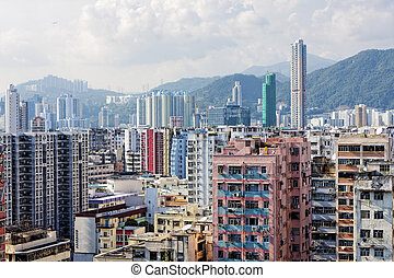 Hong Kong aerial view panorama with urban skyscrapers