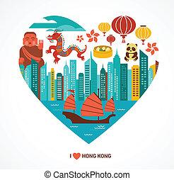 hong kong, amor, plano de fondo, y, vector, ilustración