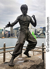 Bruce Lee statue - HONG KONG - APRIL 26: Bruce Lee statue at...