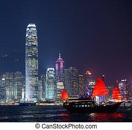 Hong Kong at night from across Victoria Harbor