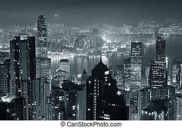 Hong Kong at night in black and white