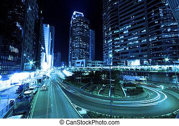 Hong Kong at night in cyber tone