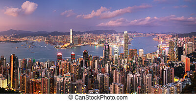 Hong Kong at night skyline