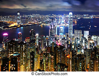 Hong Kong at night view from peak