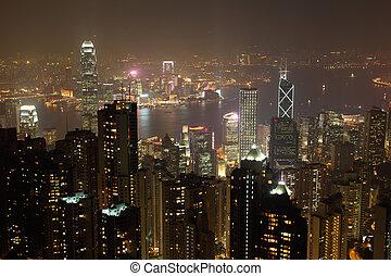 Hong Kong at night. View from the Victoria Peak