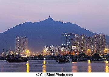 hong kong, bâtiments, bureau, côte