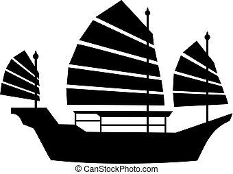 hong kong, barco, icono