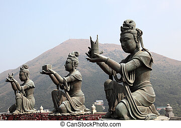 hong kong, boeddhist, tian, china, standbeeld, looien