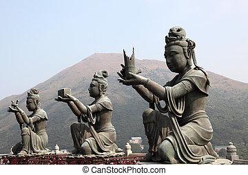 hong kong, bouddhiste, tian, porcelaine, statue, bronzage