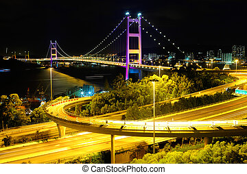 Hong Kong bridge at night