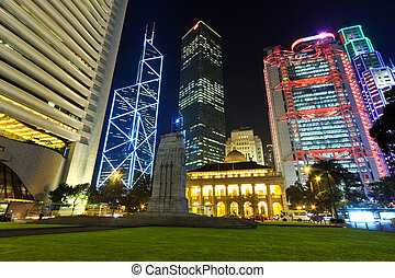 Hong Kong buildings at night