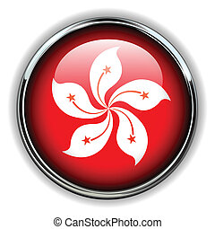 Hong Kong button - Hong Kong flag button