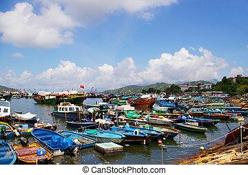 hong kong, cheung, achtergrond., visserij, zee, chau,...