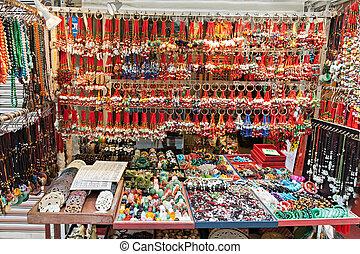 HONG KONG, CHINA - MARCH 19: Fortunate pendant market in Hong Kong on March, 19, 2013, Hong Kong, China.