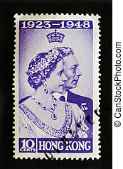 HONG KONG - CIRCA 1948 - Postage stamp commemorating the silver wedding nniversary of King George 6th and Elizabeth Bowes-Lyon