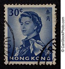 HONG KONG - CIRCA 1962: Hong Kong stamp shows Queen...