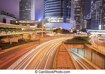Hong Kong city and traffic of street at night