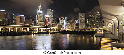 Hong Kong City Skyline by Ferry Pier Panorama