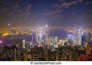 Hong Kong city skyline panorama at night with Victoria ...