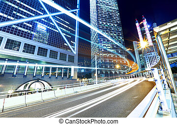 Hong Kong city traffic at night