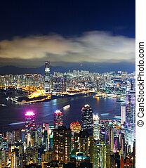 Hong Kong city view from peak at night
