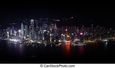 Hong Kong Cityscape and Harbor at Night in Timelapse. Video 1080p