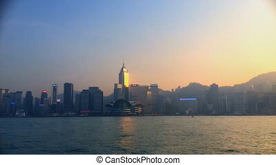 Hong Kong cityscape and harbor from Hong Kong Island (quick...