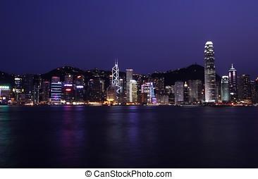 hong kong, contorno, noche