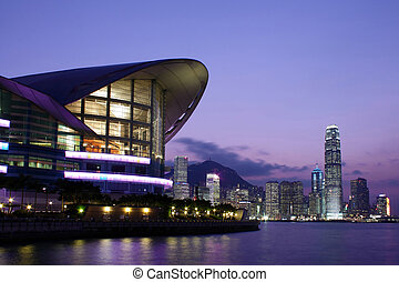 hong kong, convention, et, exposition, centre, soir