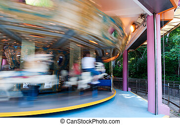 merry-go-round - Hong Kong Disneyland, rapid rotation of the...