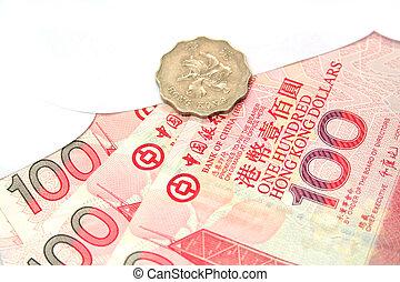 Hong Kong Dollars in an envelope