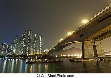 Hong Kong downtown bridge at night