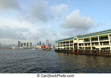 Hong Kong Ferry Pier and junk boat