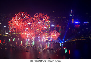 Hong Kong fireworks 2014 - HONG KONG - 1 JANUARY: A splendid...