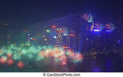 Hong Kong fireworks 2014 - HONG KONG - JANUARY 1: A splendid...