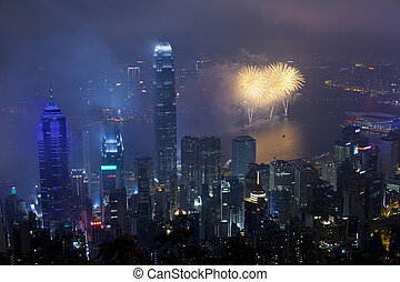 Hong Kong fireworks in Chinese New Year