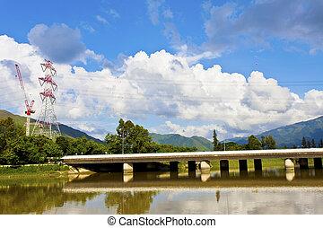 hong kong, fiume, e, cloudscape, a, giorno