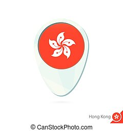 Hong Kong flag location map pin icon on white background....