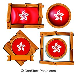 Hong Kong flag on round and square frames