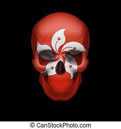 Hong Kong flag skull - Human skull with flag of Hong Kong....