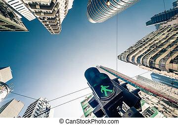 hong kong, futuriste, cityscape, à, trafic, sémaphore