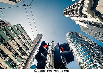Hong Kong futuristic cityscape with traffic semaphore