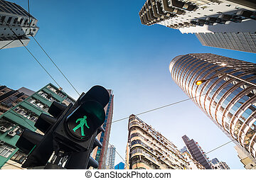 Abstract futuristic cityscape view with modern skyscrapers and traffic semaphore