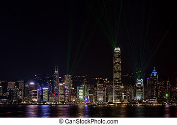 Hong Kong Harbor Bathed in Lasers