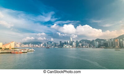 Hong Kong Harbor panorama cityscape timelapse - Central...
