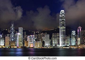 Hong Kong harbor view at night
