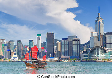 Hong Kong harbour with city background