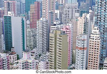 Hong Kong High Density - Cropped, colour shot of high...